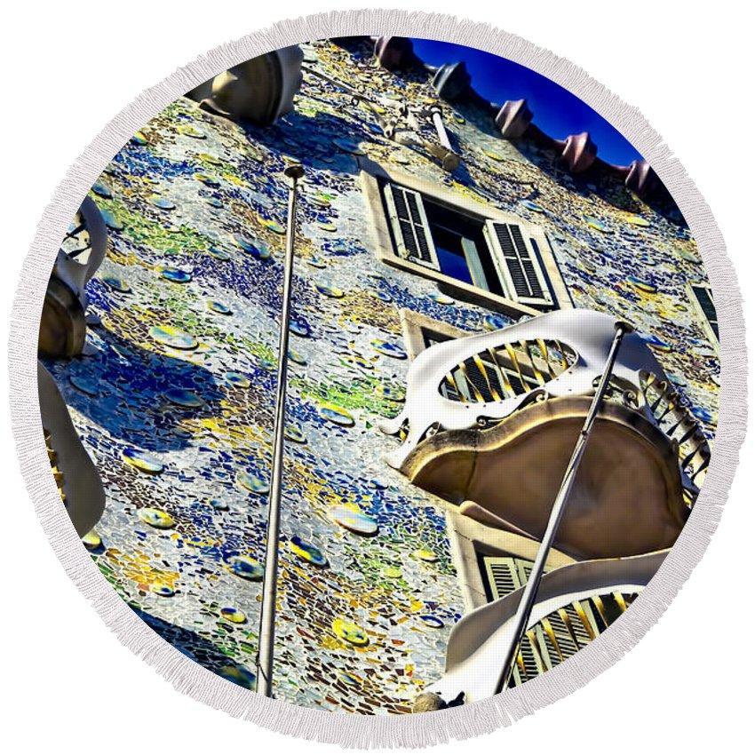 Casa Batllo Round Beach Towel featuring the photograph Gaudi - Casa Batllo Exterior by Jon Berghoff