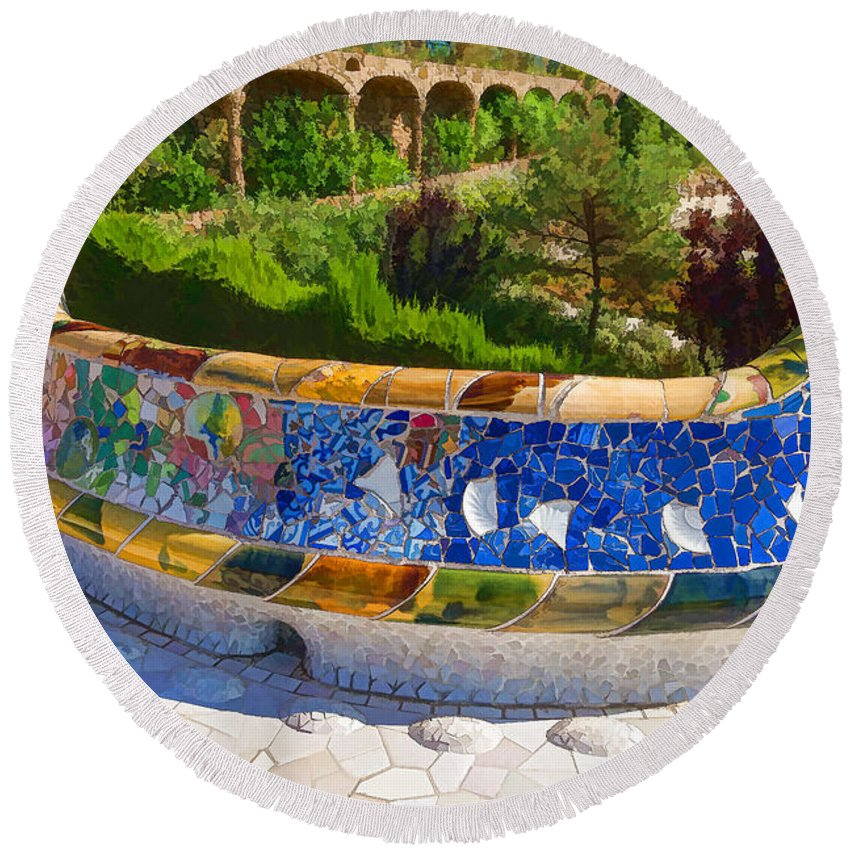 Georgia Mizuleva Round Beach Towel featuring the digital art Gaudi's Park Guell - Impressions Of Barcelona by Georgia Mizuleva