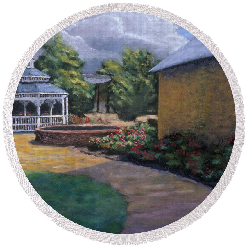 Potter Round Beach Towel featuring the painting Gazebo In Potter Nebraska by Jerry McElroy