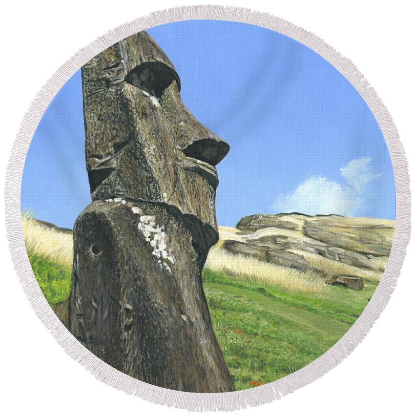 Easter Island Round Beach Towel featuring the painting Gazing by Brent Charbonneau