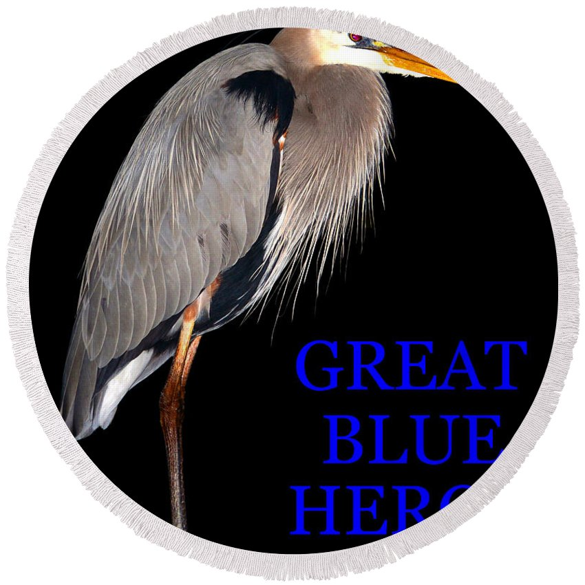 Great Blue Heron Round Beach Towel featuring the photograph Gbh Bird Educational Work A by David Lee Thompson