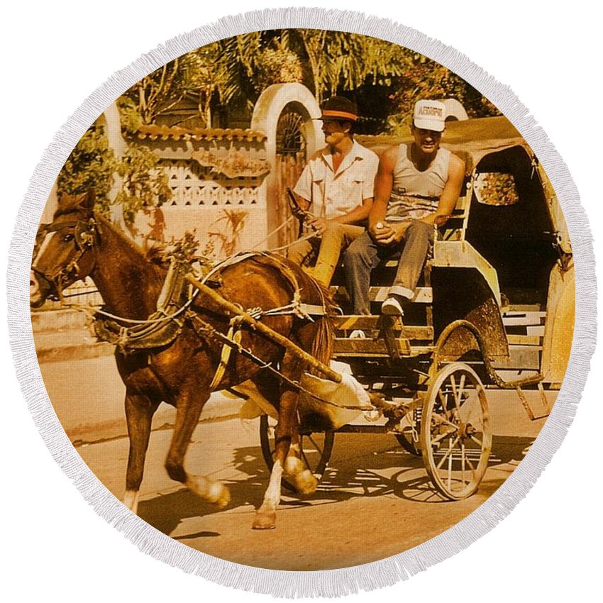 Horses Round Beach Towel featuring the photograph Gee Haw by John Malone