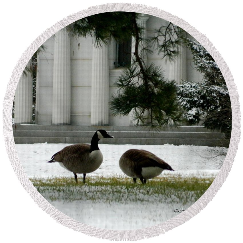 Geese Round Beach Towel featuring the photograph Geese In Snow by Kathy Barney