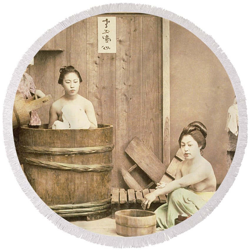 Nude Round Beach Towel featuring the photograph Geishas Bathing by English School