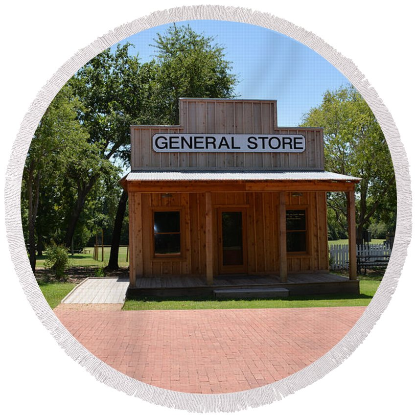 General Store Round Beach Towel featuring the photograph General Store At Historical Park by Ruth Housley