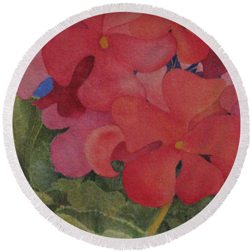 Florals Round Beach Towel featuring the painting Generium by Mary Ellen Mueller Legault