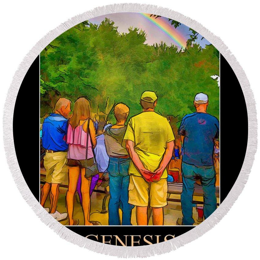 Bible Round Beach Towel featuring the digital art Genesis 9 by John Haldane