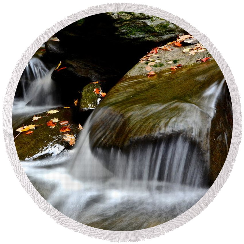Waterfall Round Beach Towel featuring the photograph Gentle Falls by Frozen in Time Fine Art Photography