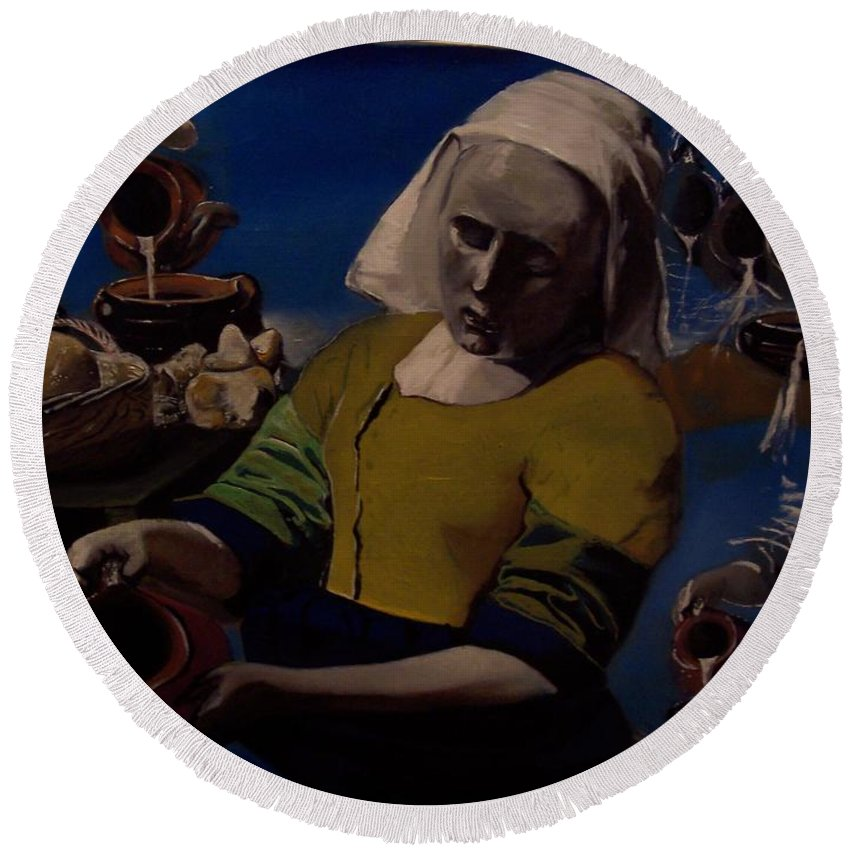 Round Beach Towel featuring the painting Geological Milk Maid Anthropomorphasized by Jude Darrien