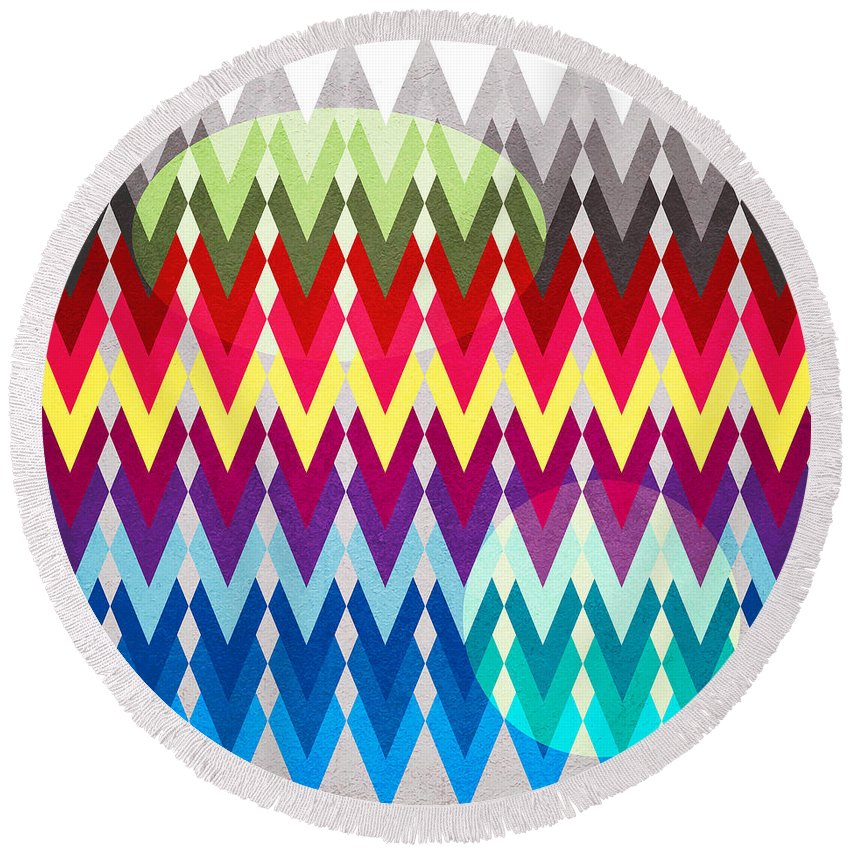 Contemporary Round Beach Towel featuring the digital art Geometric Colors by Mark Ashkenazi