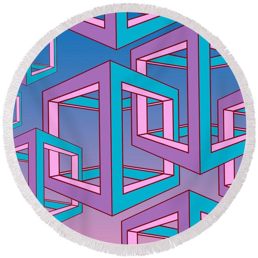Geometric Round Beach Towel featuring the digital art Geometric by Mark Ashkenazi