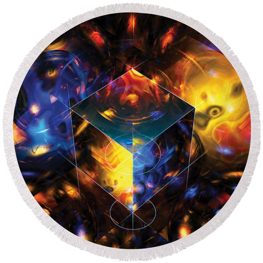 Abstract Round Beach Towel featuring the digital art Geometry Amid Chaos Lights by James Kramer