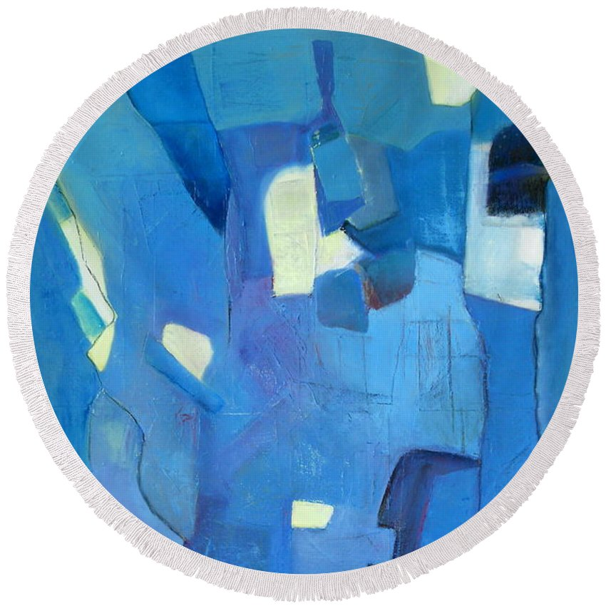 Abstract Oil Painting Round Beach Towel featuring the painting Geopolitical Harmony by Danielle Nelisse