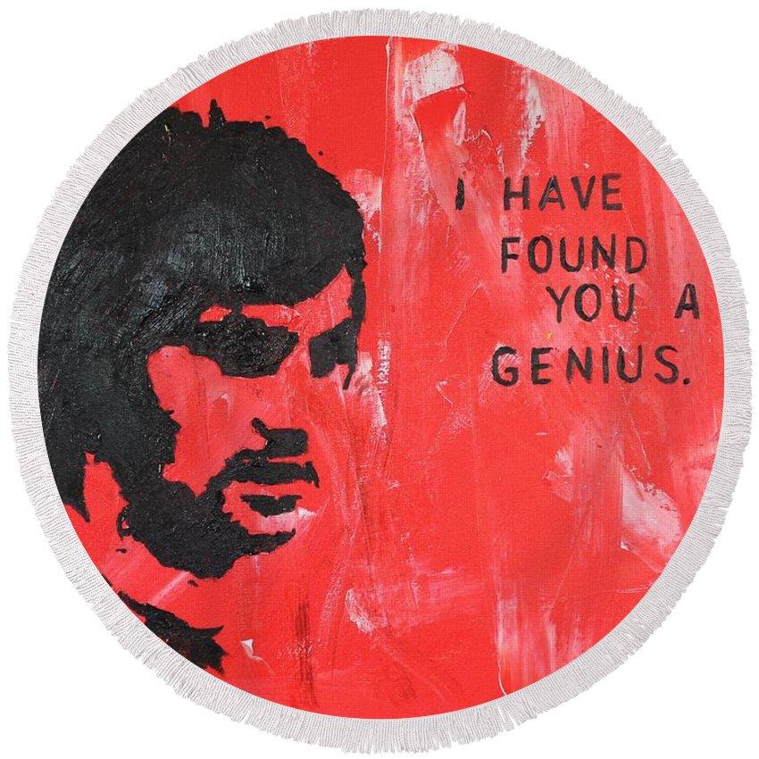 George Best Round Beach Towel featuring the painting George Best Genius by John Halliday