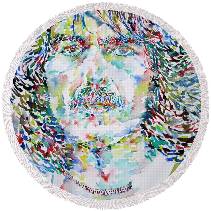 George Round Beach Towel featuring the painting George Harrison Portrait.2 by Fabrizio Cassetta
