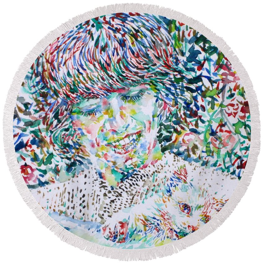 George Round Beach Towel featuring the painting George Harrison With Cat by Fabrizio Cassetta