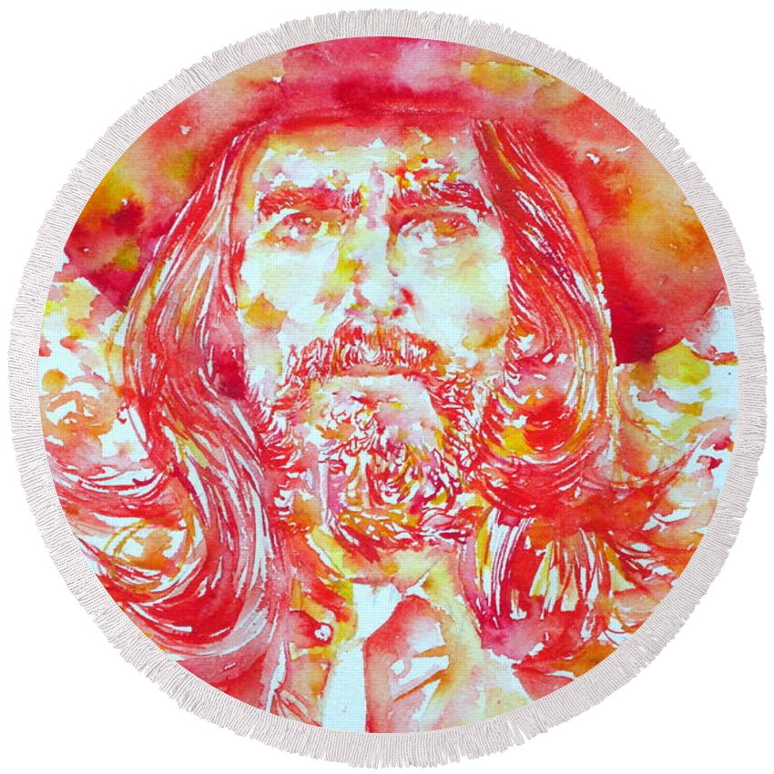 George Round Beach Towel featuring the painting George Harrison With Hat by Fabrizio Cassetta