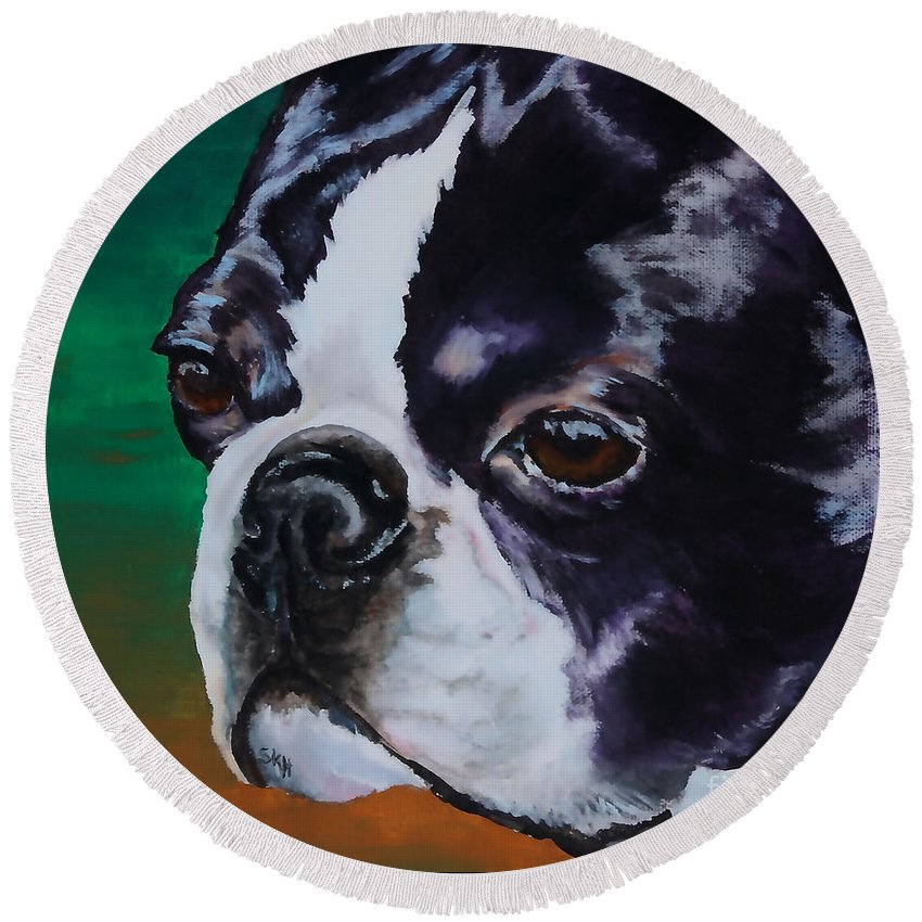 Animal Round Beach Towel featuring the painting George by Susan Herber