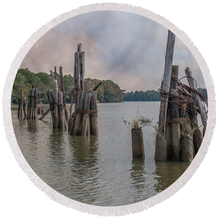 Piling Round Beach Towel featuring the photograph Georgetown Pilings by Dale Powell