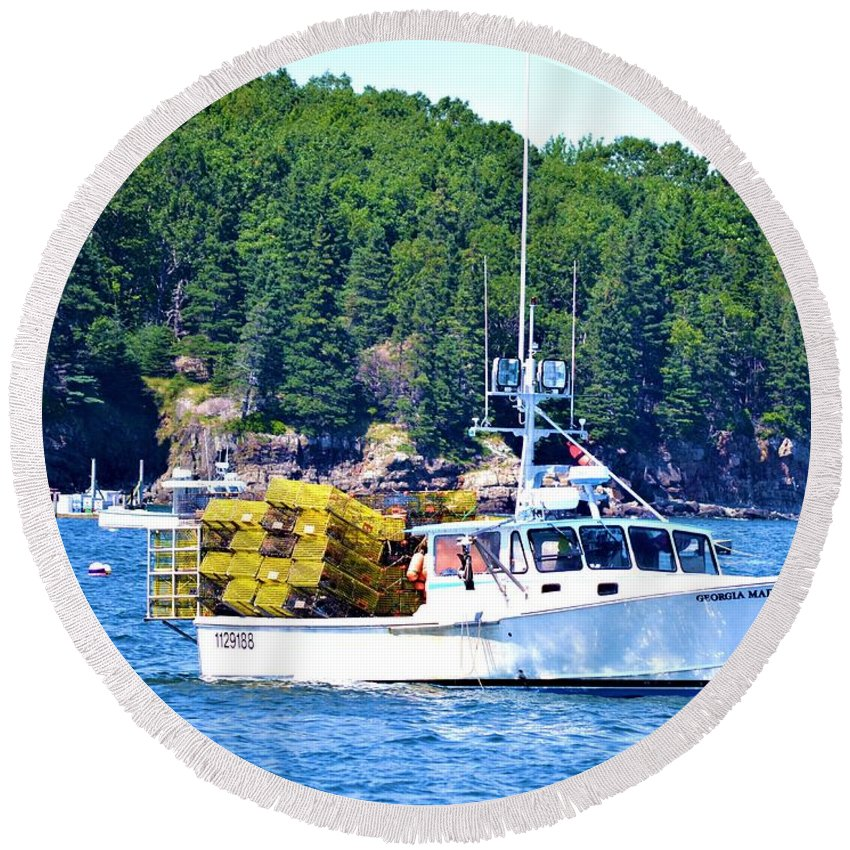Georgia Madison Round Beach Towel featuring the photograph Georgia Madison Lobster Boat by Tara Potts
