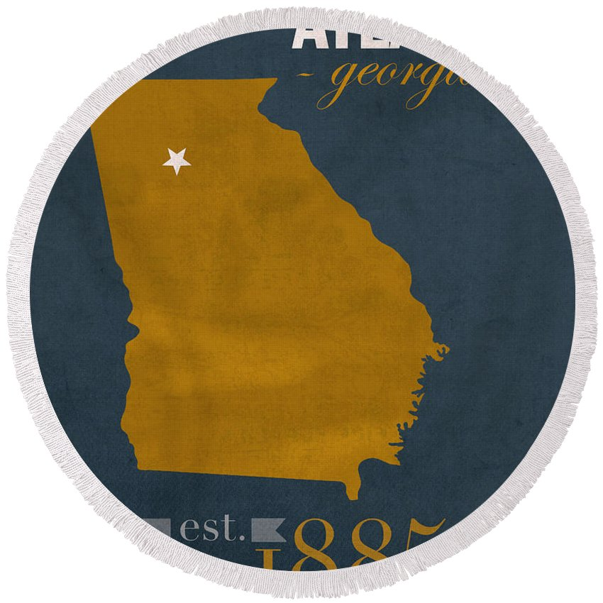 Georgia Tech University Round Beach Towel featuring the mixed media Georgia Tech University Yellow Jackets Atlanta College Town State Map Poster Series No 043 by Design Turnpike