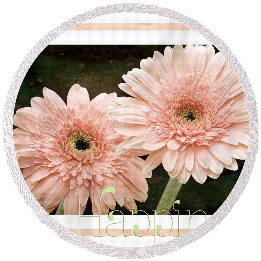 Gerber Round Beach Towel featuring the photograph Gerber Daisy Happiness 5 by Andee Design
