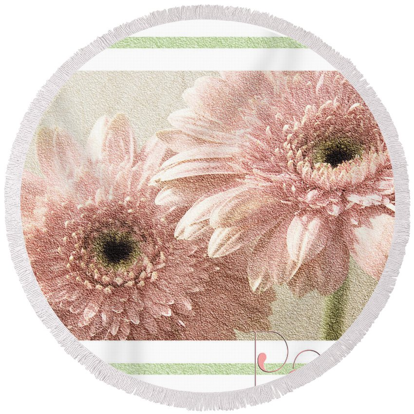 Gerber Round Beach Towel featuring the photograph Gerber Daisy Peace 3 by Andee Design