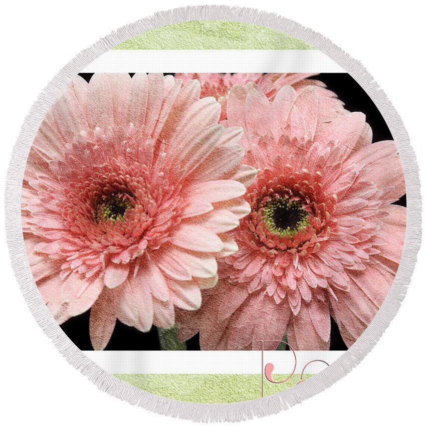 Gerber Round Beach Towel featuring the photograph Gerber Daisy Peace 4 by Andee Design