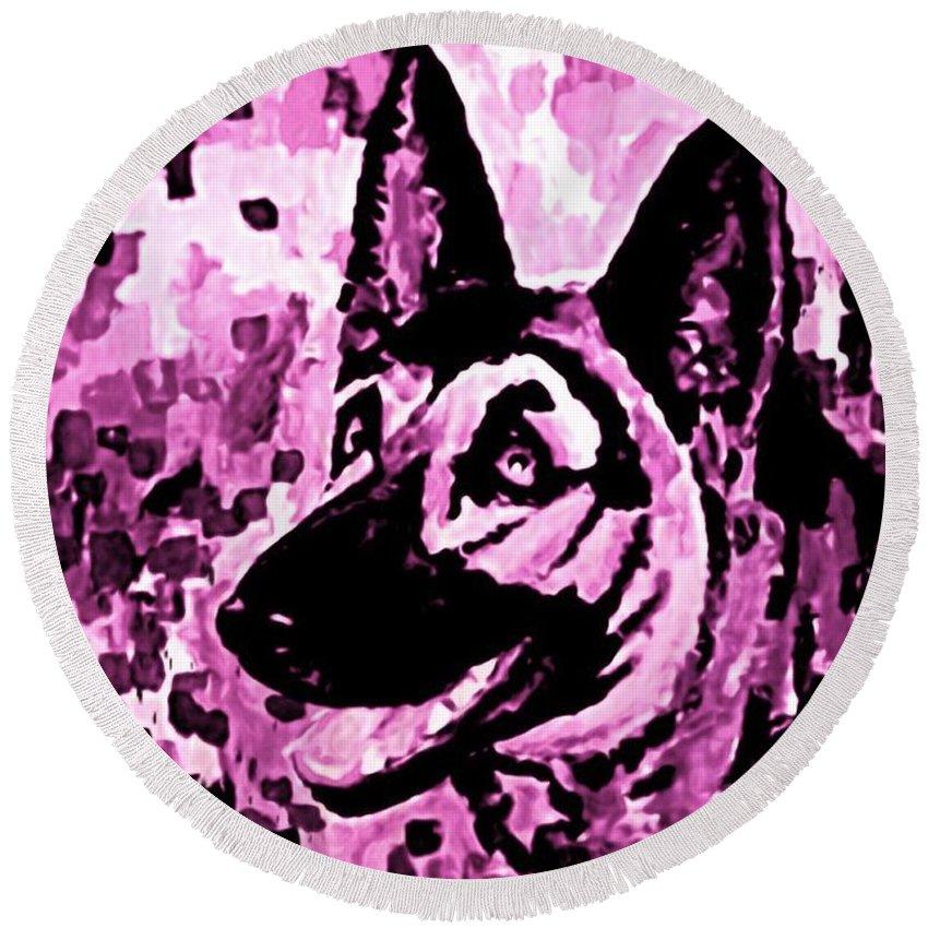 Dog Round Beach Towel featuring the digital art German Shepard In Purples by Halifax artist John Malone