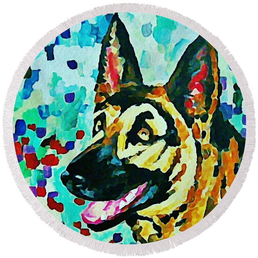 Dog Round Beach Towel featuring the digital art German Shepard Watercolor by Halifax artist John Malone