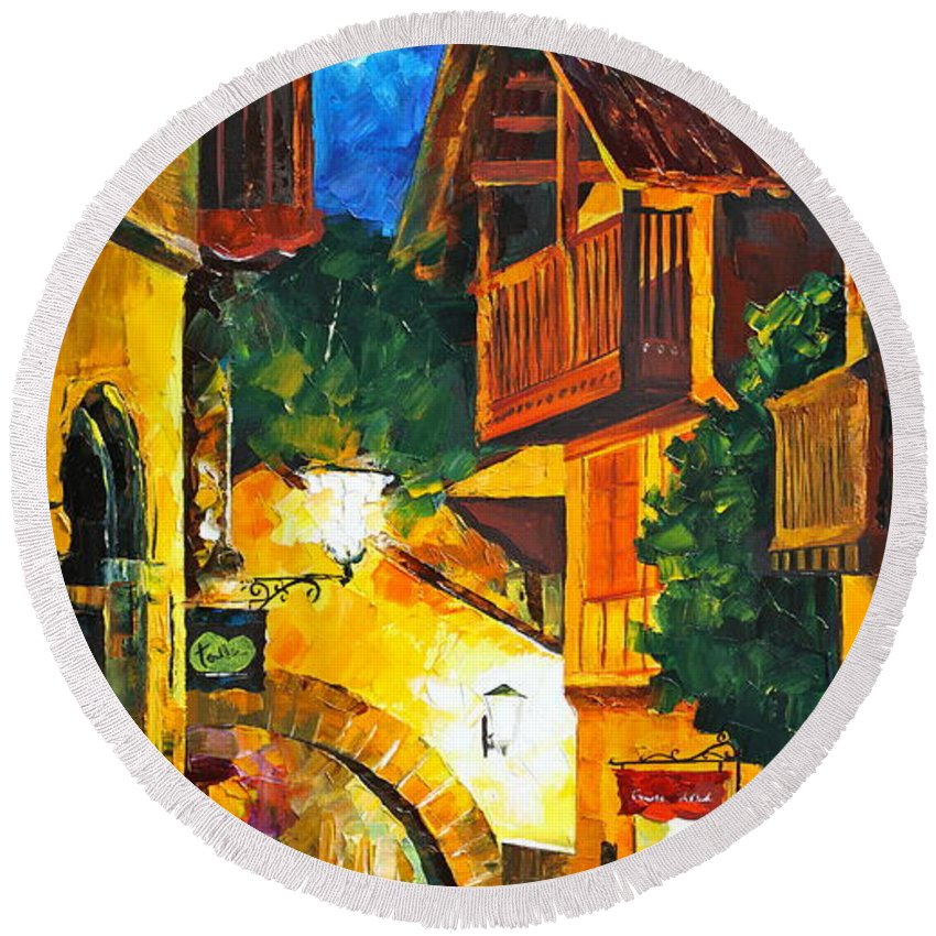 Afremov Round Beach Towel featuring the painting German Town by Leonid Afremov