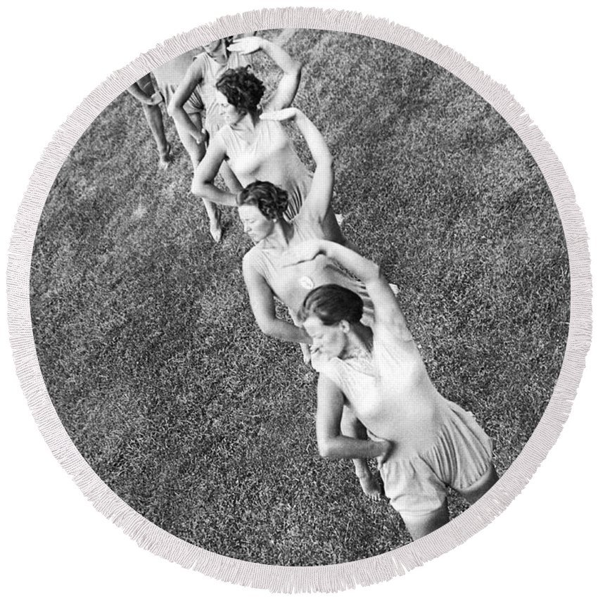 1035-787 Round Beach Towel featuring the photograph German Women Exercising by Underwood Archives
