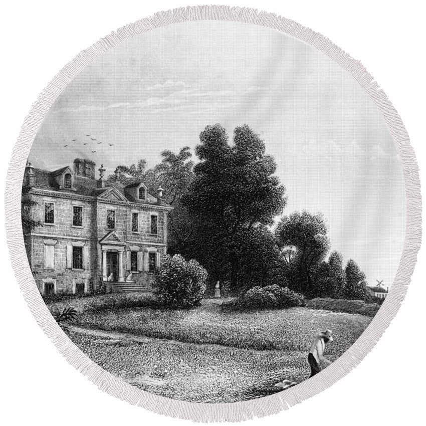 18th Century Round Beach Towel featuring the painting Germantown Chew House by Granger