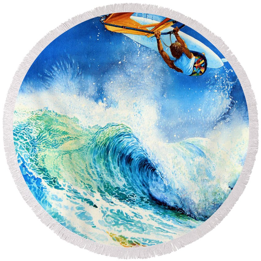 Sports Art Round Beach Towel featuring the painting Getting Air by Hanne Lore Koehler