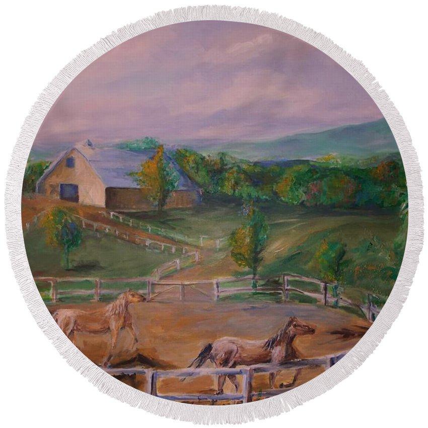 Pennsylvania Round Beach Towel featuring the painting Gettysburg Farm by Eric Schiabor