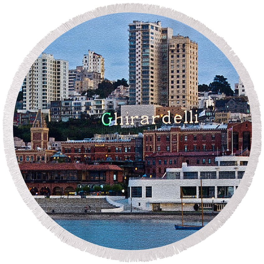 Kate Brown Round Beach Towel featuring the photograph Ghirardelli Square by Kate Brown