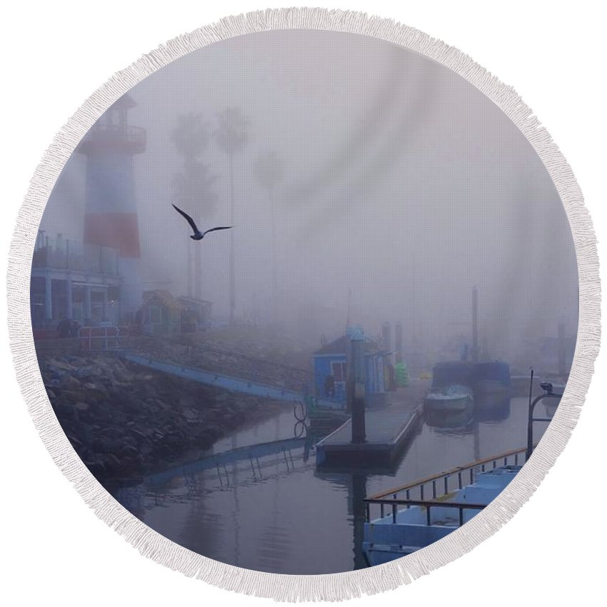 Oceanside Round Beach Towel featuring the photograph Ghost Harbor by Allissa Thompson