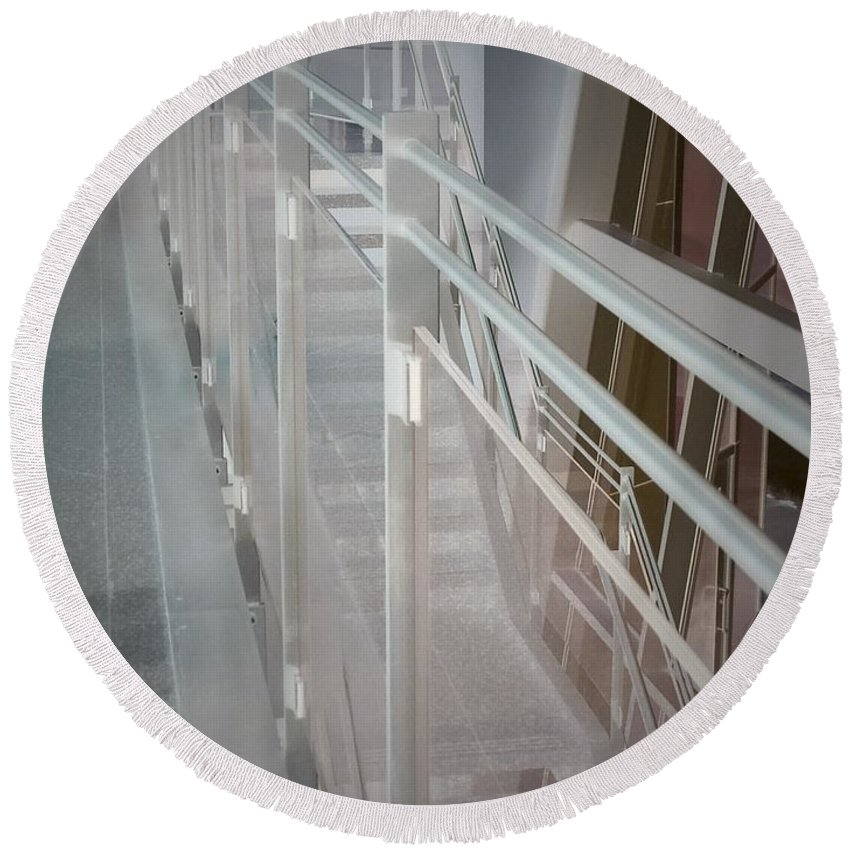 Railing Round Beach Towel featuring the photograph Ghost Rails 2 by Jean Macaluso