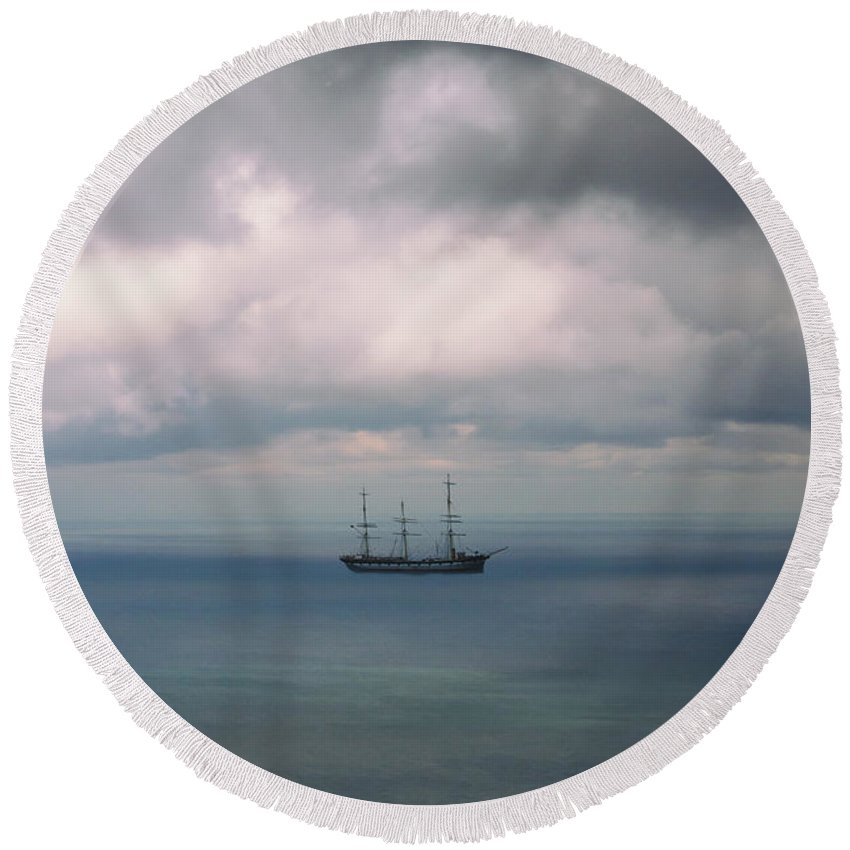 Water Round Beach Towel featuring the photograph Ghost Ship by Margie Hurwich