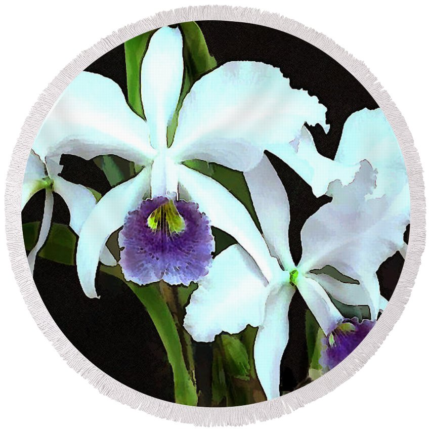 Orchid Round Beach Towel featuring the painting Ghostly Cattleyas by Elaine Plesser
