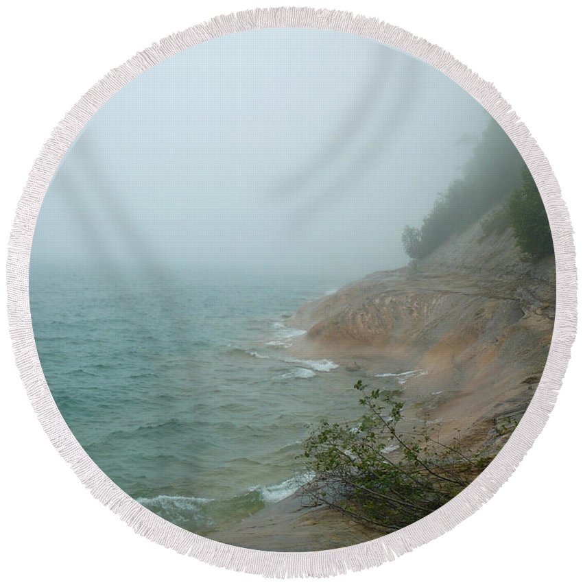Upper Peninsula Round Beach Towel featuring the photograph Ghostly Shore by Two Bridges North
