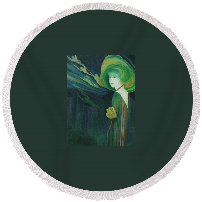 Women Round Beach Towel featuring the painting My Haunted Past by Carolyn LeGrand