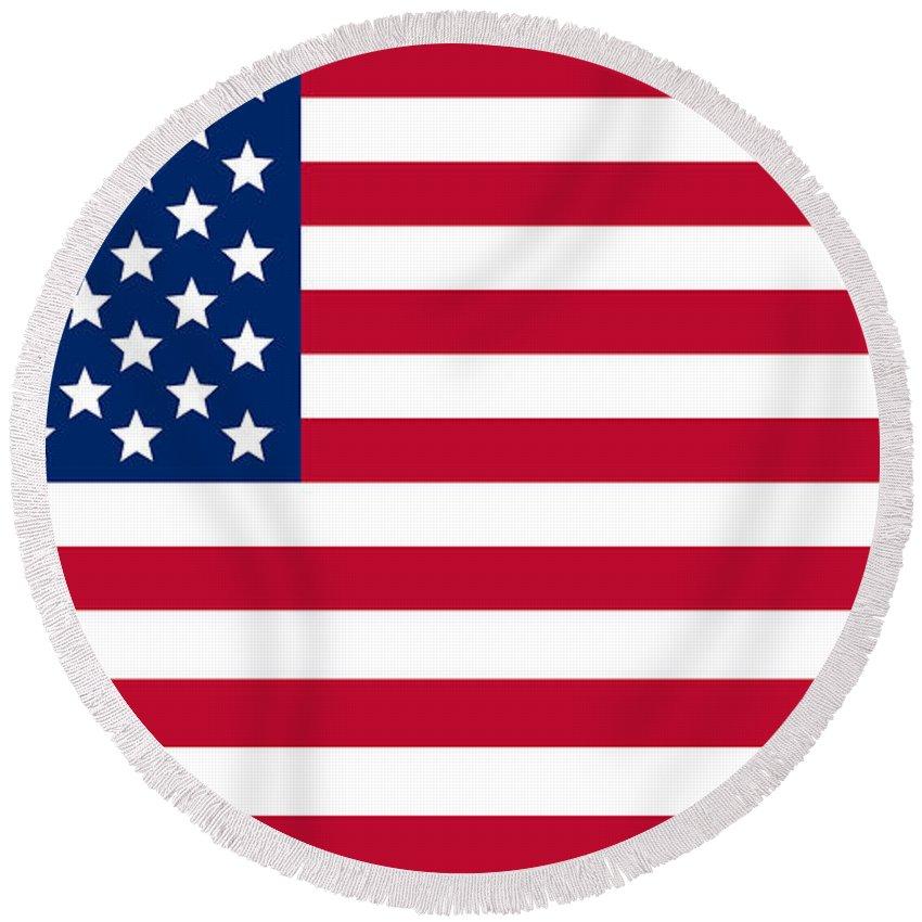 Giant American Flag Round Beach Towel