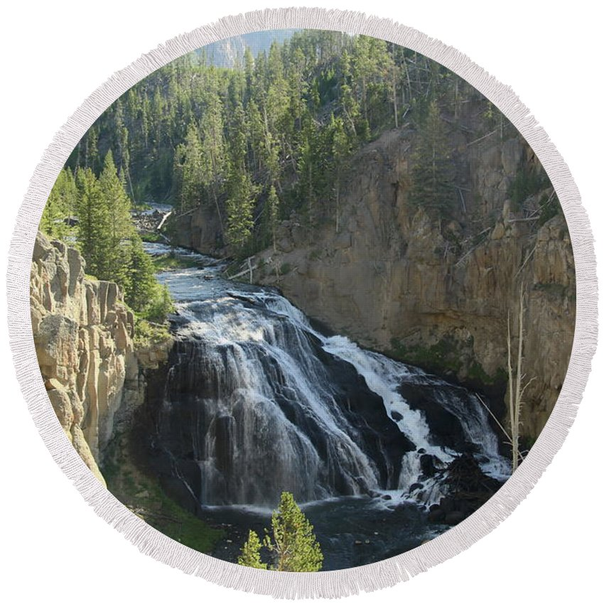 Gibbon Falls Round Beach Towel featuring the photograph Gibbon River And Falls by Christiane Schulze Art And Photography