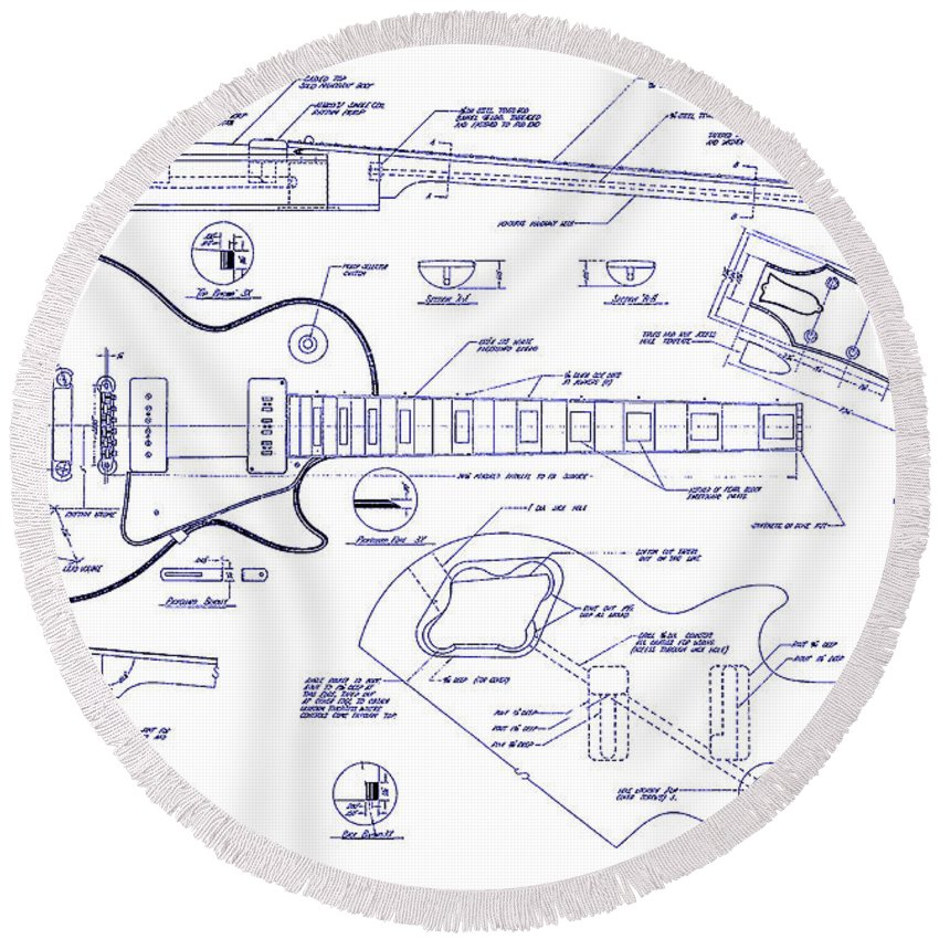 Gibson Les Paul Blueprint Drawing Round Beach Towel For Sale By Jon