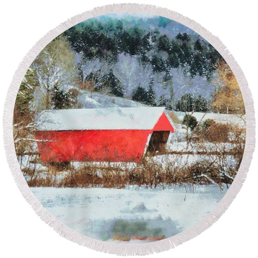 Covered Bridge-gifford Bridge Vermont By Jeff Folger Round Beach Towel featuring the photograph Gifford Covered Bridge In Winter by Jeff Folger