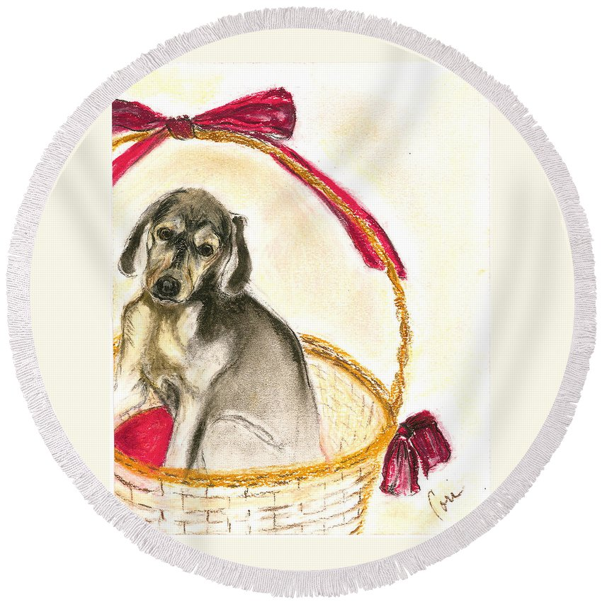 Dog Round Beach Towel featuring the drawing Gift Basket by Cori Solomon
