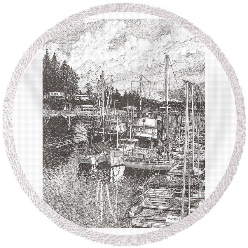 Yacht Portraits Round Beach Towel featuring the drawing Gig Harbor Entrance by Jack Pumphrey