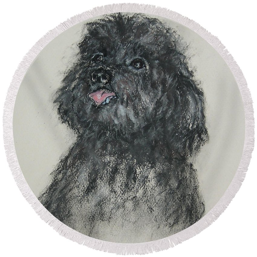 Poodle Round Beach Towel featuring the drawing Gigi by Cori Solomon