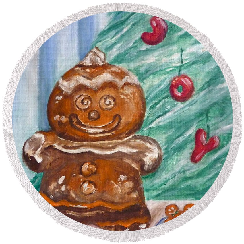Christmas Round Beach Towel featuring the painting Gingerbread Cookies by Victoria Lakes